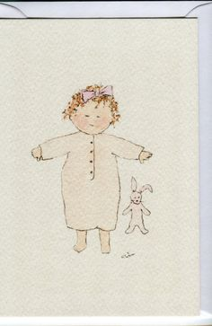 No. 120. Baby girl in pink with pink rabbit. Baby girl card.