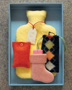Large and small pieces of felted wool sweaters can create a variety of attractive pouches: A hot-water-bottle cover was cut from a turtleneck sweater, an eyeglass case began life as an argyle sweater, a waistband forms the top of a tiny stocking, and a portion of a sleeve became a case for an MP3 player.