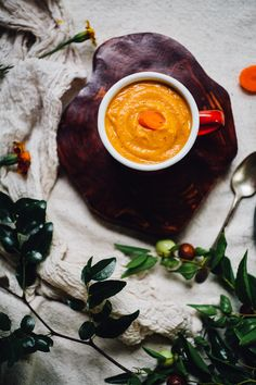 creamy miso carrot soup   vegan recipe via willfrolicforfood.com