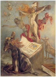"""Félicien-Rops-(1833-1898), La tentazione di Sant'Antonio,-1878, Cabinet-des-Estampes,Bibliothèque-royale, Bruxelles I * """"devi sapere che io sono un essere niente affatto singolare, e molto scarsamente comprensibile perfino a me stesso."""" (Rops a Nadar)*"""