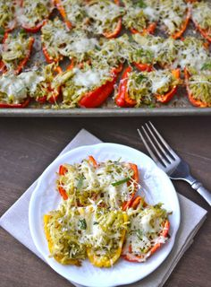 Pesto Chicken Stuffed Sweet Peppers, a simple FOUR ingredient dinner that is healthy and gluten free!