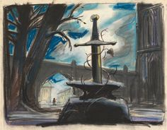 "disneyconceptsandstuff: "" Visual Development from The Sword in the Stone "" Disney Concept Art, Disney Fan Art, Animation Film, Disney Animation, Sword Drawing, Sword In The Stone, Visual Development, Disney Tattoos, Fantasy Inspiration"