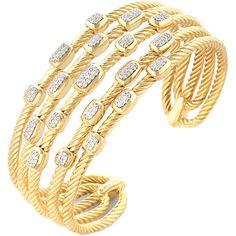 David Yurman Confetti 18K 0.55 Ct. Tw. Diamond Cuff Bracelet ($9,200) ❤ liked on Polyvore featuring jewelry, bracelets, jewelry & watches, nocolor, diamond cuff bangle, cuff bangle, diamond cuff bracelet, preowned jewelry and 18k bangle Diamond Bangle, Diamond Jewelry, Bangle Bracelets, Bangles, David Yurman, Confetti, Jewelry Watches, Gold, Jewellery