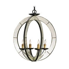 Currey and Company Lighting Modern Pendant Light in Old Iron/antique Mirror Finish 9400