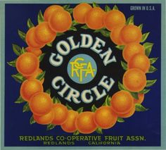 """DESCRIPTION: Super image of a circle of oranges.   APPROX. SIZE: 10.00"""" x 11.00""""   APPROX. AGE: 1940-50's.   CONDITION: Near mint   LITHOGRAPHER: Not stated.   ORIGIN/OTHER: Redlands, California  We sell only original labels and not reproductions. We are committed to customer satisfaction and guarantee our labels to be original and as described. In the unlikely event that you are unhappy with your purchase, simply contact us within 3 days of its receipt. Upon our receipt of the label, a…"""