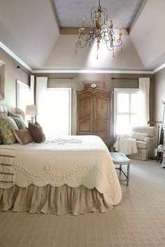 Vintage French Soul ~    Lovely country French bedroom.