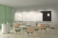 VIP elegantly unifies the essential equipment of any conference room. It consists of a wide rail for hanging a wide variety of items, such as movable flipchart boards and writingboards. The writing boards are equipped with a ledge for markers. Projector Wall, Home Projects, Minimalism, Dining Table, Interior Design, Furniture, Canteen, Home Decor, Vip