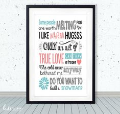 Super cool Disney Frozen room decor - quotable wall art. Just add frame.