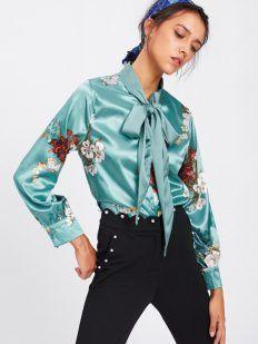 Flower Satin Shirt - Tina Chic