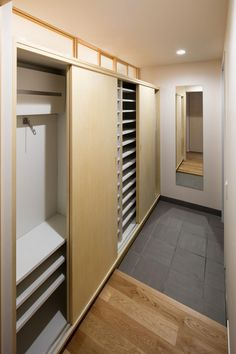 bathroom behind and loft bedroom above - for the Bubble Japanese Door, Japanese House, Tiny Closet, Closet Space, Muji Home, Wardrobe Room, House Entrance, Storage Cabinets, Interior Architecture