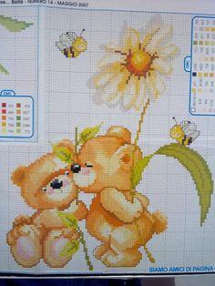 Gallery.ru / Фото #14 - μπαλα - ergoxeiro Cross Stitch Owl, Cross Stitch Borders, Cross Stitch Charts, Cross Stitch Designs, Baby Quilts, Crochet Baby, Cross Stitch Patterns, Embroidery Designs, Teddy Bear