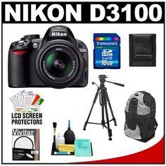 Nikon D3100 14.2 MP Digital SLR Camera & 18-55mm G VR DX AF-S Zoom Lens with 16GB Card + Backpack Case + Tripod + Accessory Kit by Nikon. $479.95. Kit includes: ♦ 1) Nikon D3100 Digital SLR Camera  ♦ 2) Nikon 18-55mm G VR DX AF-S Zoom Lens  ♦ 3) Transcend 16GB High-Capacity SecureDigital (SDHC) Card ♦ 4) Vivitar 52mm UV Glass Filter ♦ 5) Zeikos ZE-BP2-S Deluxe Sling Digital SLR Camera Backpack Case (Black/Silver) ♦ 6) Precision Design Deluxe Camera Tr...