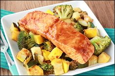 Hungry Girl's Spicy BBQ Salmon & Veggies