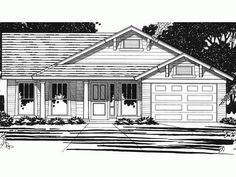 Floor Plan AFLFPW74187 is a beautiful 1064 square foot  Country  home design with 1 Garage Bay