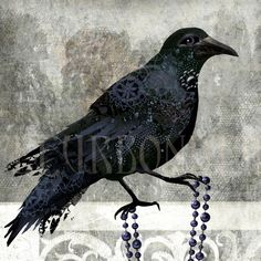 art print- Castle Crow- digital painting with original photos processed at PS via Etsy Great doodles in the crow.