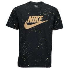Nike Hazardous Speckle T-Shirt - Black / Gold Nike T Shirts Women's, Nike T Shirt Mens, Sport T Shirt, Men's Shirts, Black Nike Shirt, Black And Gold Shirt, Black Gold, Shirts For Teens Boys, Nike Clothes Mens
