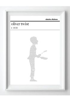 Oliver Twist Charles Dickens Text Art Poster by PoppyLanePrints