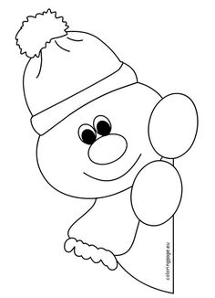 Window snowman coloring pages for preschool - Christmas decorations Snowman Coloring Pages, Coloring Pages Winter, Cool Coloring Pages, Christmas Coloring Pages, Paper Christmas Decorations, Christmas Crafts For Kids, Simple Christmas, Holiday Crafts, Preschool Christmas