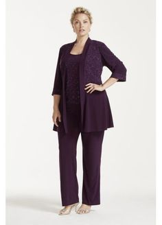 Suit for mom.3/4 Sleeve Jacket with Tank and Dress Pants Set 5589W
