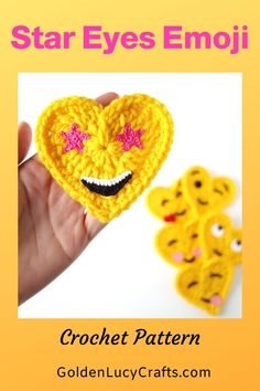 This Star Eyes crochet Emoji is number two in my second series of six. It is also known as the Excited, Starry Eyed or Wow Face Emoji. Crochet Stars, All Free Crochet, Cute Crochet, Crochet Motif, Crochet Patterns, Crochet Appliques, Crochet Ideas, Crochet Thread Size 10, Crochet Hook Sizes