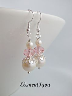 Bridesmaid earrings Ivory white pearl earrings by Element4you, $12.00