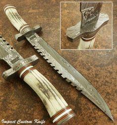 IMPACT CUTLERY RARE CUSTOM DAMASCUS LARGE FIGHTER BOWIE KNIFE STAG ANTLER HANDLE | Предметы для коллекций, Ножи, мечи и клинки, Коллекционные ножи с фиксированным клинком | eBay!
