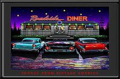 Roadside diner picture with neon lights