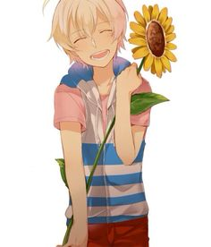 Smiling anime boy