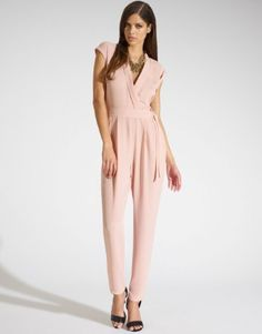 Kardashian Kollection For Lipsy jumpsuit featuring low V neck and belted waist. S/S14