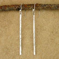 Hammered Sterling Silver Bar Earrings