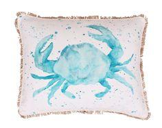 Coastal Carmello Crab Splatter Throw Pillow-wayfair