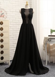 Prom Dresses A-line Black Chiffon Appliques Lace Sexy #prom #promdress #dress #eveningdress #evening #fashion #love #shopping #art #dress #women #mermaid #SEXY #SexyGirl #PromDresses