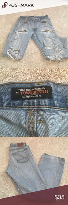 Custom distressed and paint jeans for men Distressed jeans worn in with natural tearing and paint markings. Great shape. Lighter jean color with white paint markings throughout. Polo by Ralph Lauren Jeans Straight