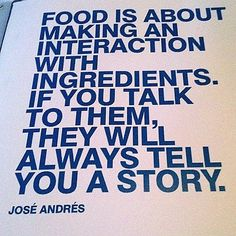 What narrative are you going to make  #Chefs #Ingredients