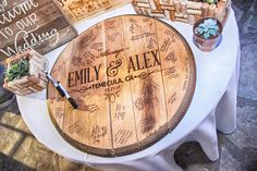 Wedding Guestbook made from Reclaimed Bourbon Barrel Head //.- Wedding Guestbook made from Reclaimed Bourbon Barrel Head // Includes Hanging Hardware and a Sharpie for Signatures - Wedding Trends, Fall Wedding, Rustic Wedding, Dream Wedding, Wedding Ideas, Handmade Wedding, Wedding Hair, Wedding Ceremony, Wedding Venues