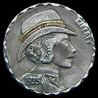 James Stewart - Cowgirl Hobo Nickel, Buffalo, Classic Style, Cactus, Coins, Carving, Art, Succulents, Art Background
