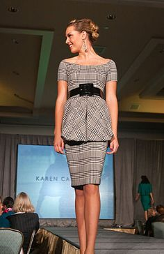 Karen Caldwell Design, Off the shoulder dress, with removable skirt top. She Is Clothed, Suit Fashion, Runway Fashion, Womens Fashion, Fashion Designer, Work Attire, Custom Clothes, Casual Chic, Peplum Dress