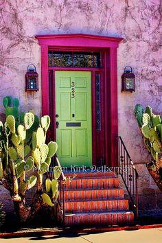 Entry wall decor Vertical wall art Mexican wall art Southwest decor Pink Southwestern decor Green Do