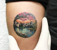 Amazing full colors realistic circle tattoo style of Landscape motive done by artist Eva Krbdk Trendy Tattoos, Sexy Tattoos, Cute Tattoos, Beautiful Tattoos, Body Art Tattoos, Small Tattoos, Sleeve Tattoos, Tattoos For Guys, Owl Tattoos