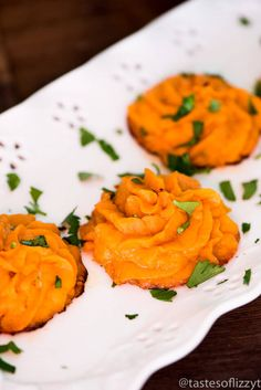 Savory mashed sweet potato puffs make an elegant, healthy side dish for your family dinner. These sweet potato swirls are often called duchess potatoes.