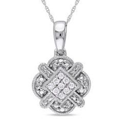 @Overstock.com.com - Nine pave-set diamonds and a high polish finish give this 10-karat white gold diamond necklace a striking, one-of-a-kind look. Measuring 17 inches and featuring a spring ring clasp, this lovely pendant will add a touch of elegance to any ensemble.http://www.overstock.com/Jewelry-Watches/Miadora-10k-White-Gold-1-10ct-TDW-Diamond-Necklace/6990843/product.html?CID=214117 $214.99