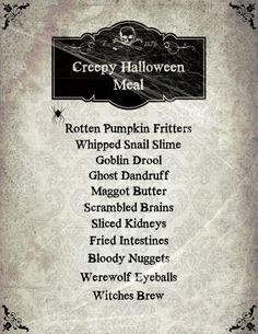 creepy halloween meal tradition with printables she veronica - Names For A Halloween Party