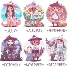 Kawaii Monthly Witches Stickers and/or Prints or Kawaii Anime, Kawaii Art, Anime Chibi, Kawaii Chibi, Anime Naruto, Cute Animal Drawings Kawaii, Cute Kawaii Animals, Cute Drawings, Zodiac Signs Animals