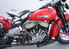 Photo of 1946 Flathead HD WL oldschool motorbike with 45 cubic inch harley flathead engine.
