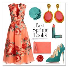 """Orange-Coral Spring Look - Evangelos Earrings"" by evanangel on Polyvore featuring Lela Rose, H&M, Jessica McClintock, Lancôme, Grandin Road and vintage"