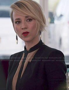Margaux's nude blouse with contrast trim and black blazer on Revenge.  Outfit Details: http://wornontv.net/47391/ #Revenge