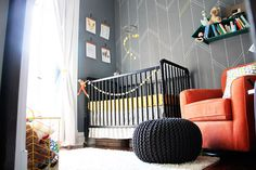 "Project Nursery - LOVE this nursery with a Yellow Bungalow Shop ""live brave"" print as part of the gallery wall above crib."