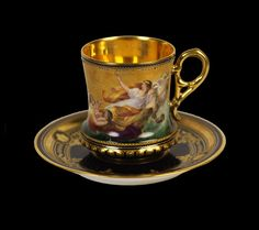 ♣~ Antique Vienna ~♣~  Abduction Of Euorpa ~♣~ Cup & Saucer ~♣~  C.1880 ~♣