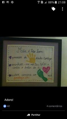 Dia da mãe Mothers Day Crafts, Crafts For Kids, Lets Do It, Let It Be, Mather Day, Professor, Mom, Hands On Activities, Mother's Day Activities