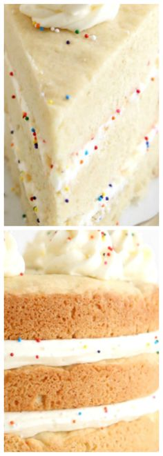 Sugar Cookie Layer Cake ~ Layers of giant sugar cookies and vanilla buttercream frosting make a fun dessert!
